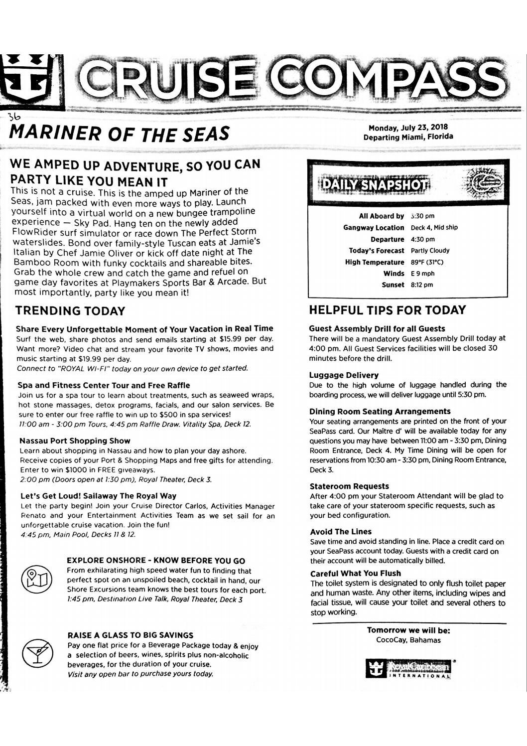 Mariner Of The Seas 4-night Bahamas Cruise Compass