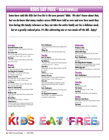 Page 8 of Kids Eat FREE in Northwest Arkansas
