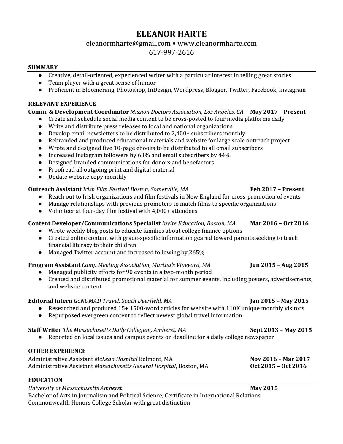 Eleanor Harte Resume by Eleanor Harte - issuu