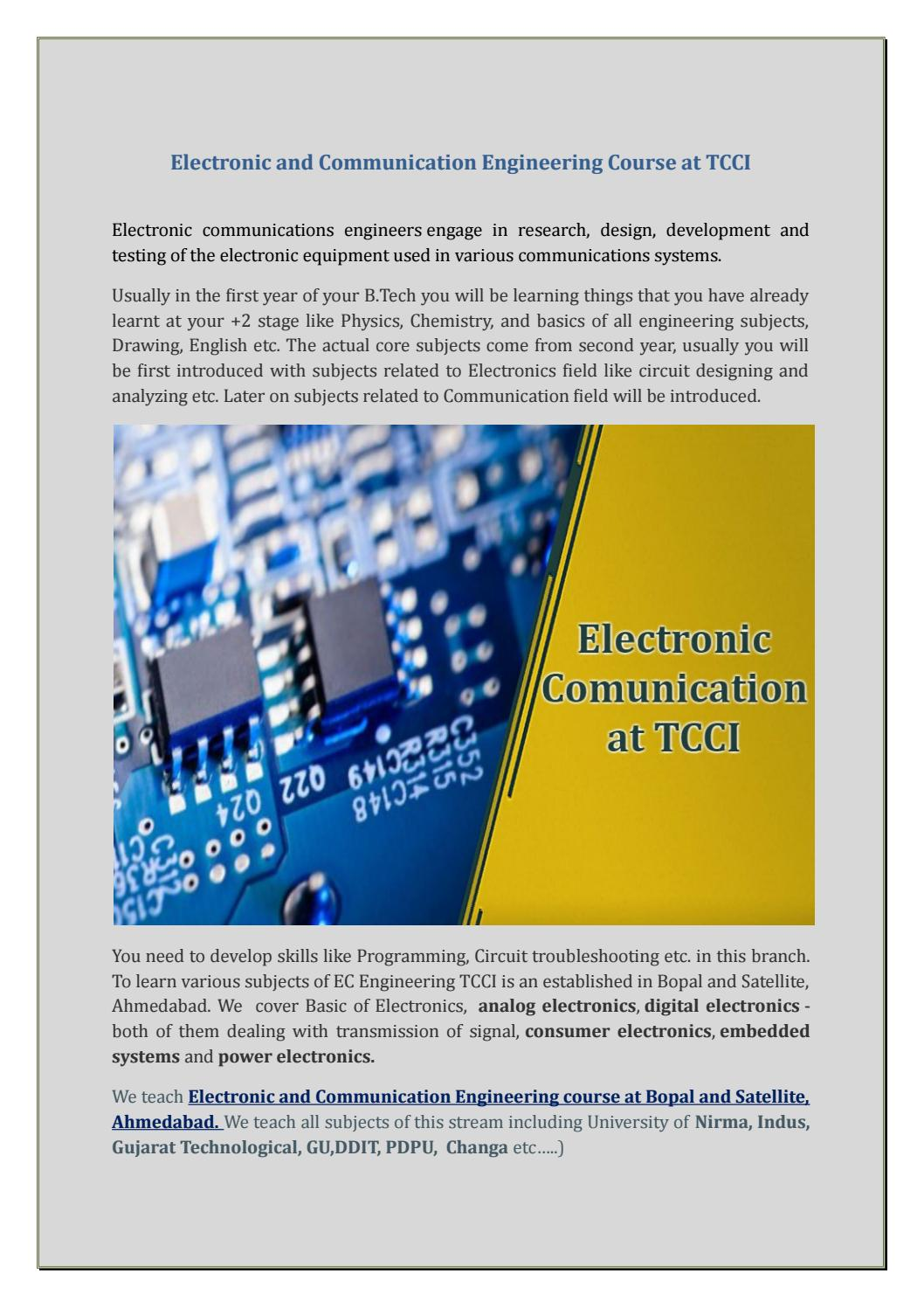 Electronic And Communication Engineering Course At Tcci By Rosario Training Electronics Circuits Design Courses Electric Riley Issuu