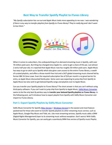 Best Way to Transfer Spotify Playlist to iTunes Library by
