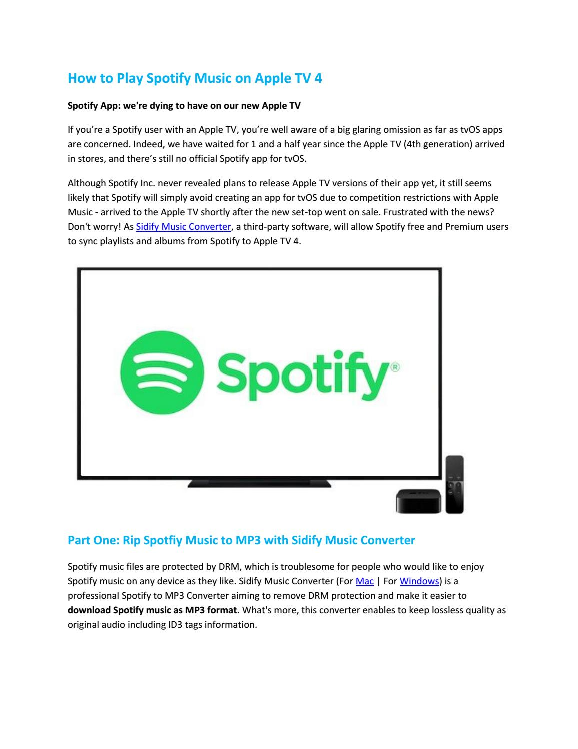 How to Play Spotify Music on Apple TV 4 by Paris Young - issuu