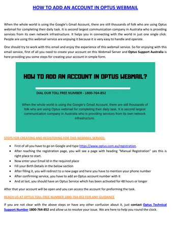 How To Create An Account In Optus Webmail By Angelina Douglass Issuu