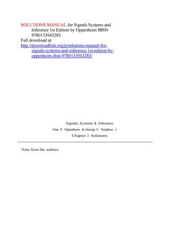 Solutions Manual For Signals Systems And Inference 1st