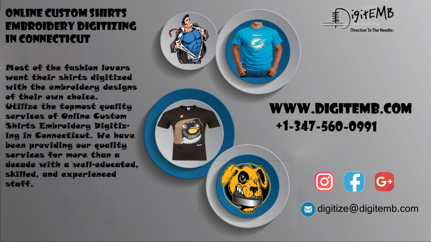 Online Custom Shirts Embroidery Digitizing in Connecticut by
