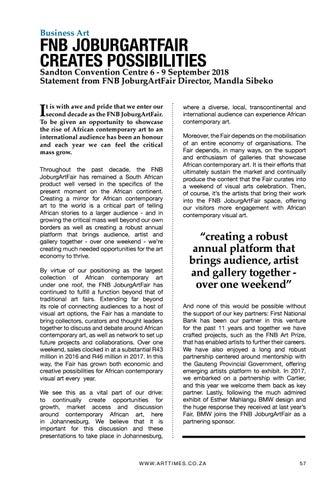 Page 57 of FNB JoburgArtFair creates possibilities: Mandla Sibeko