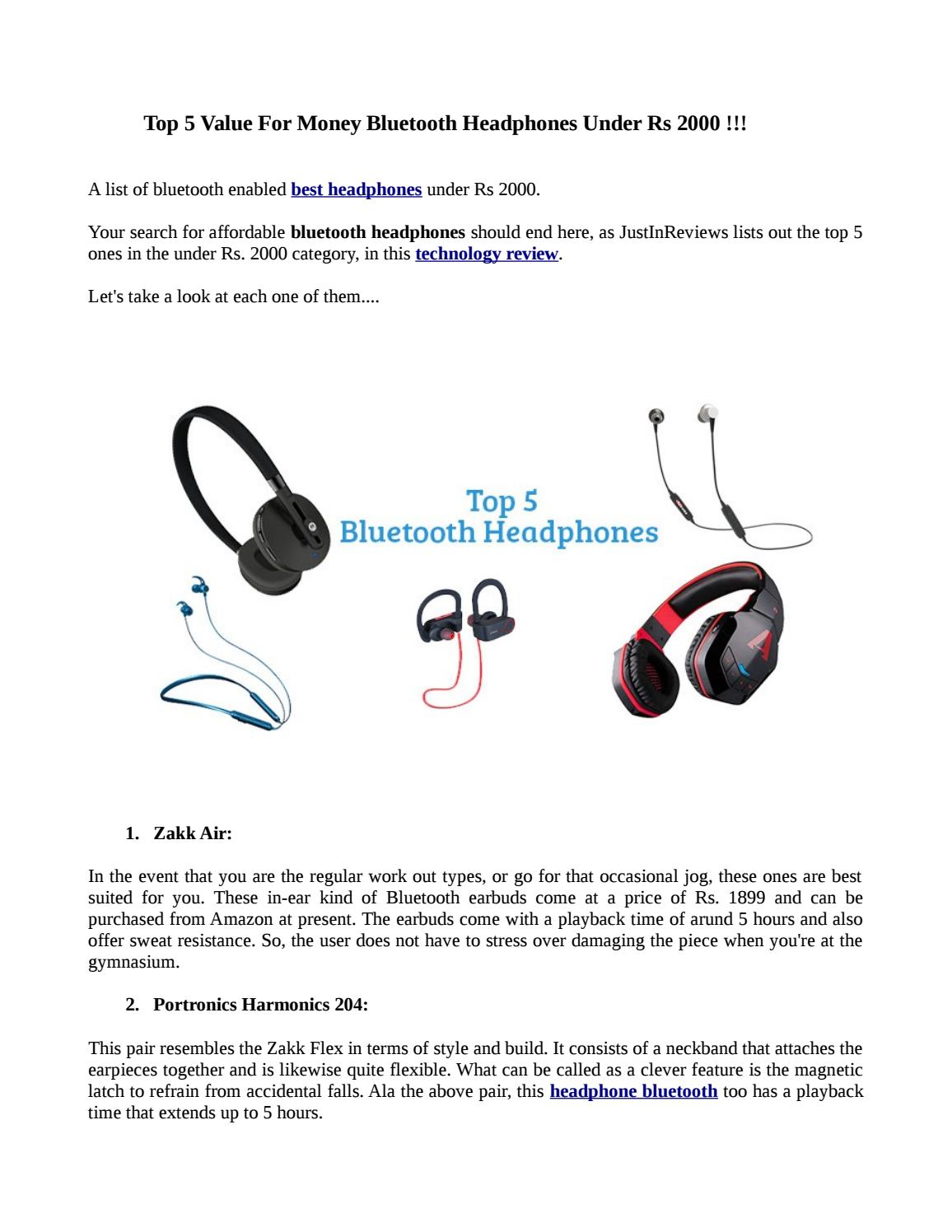 Top 5 Value For Money Bluetooth Headphones Under Rs 2000 By Sonali456 Issuu