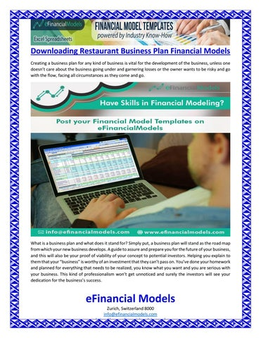 downloading restaurant business plan financial models by