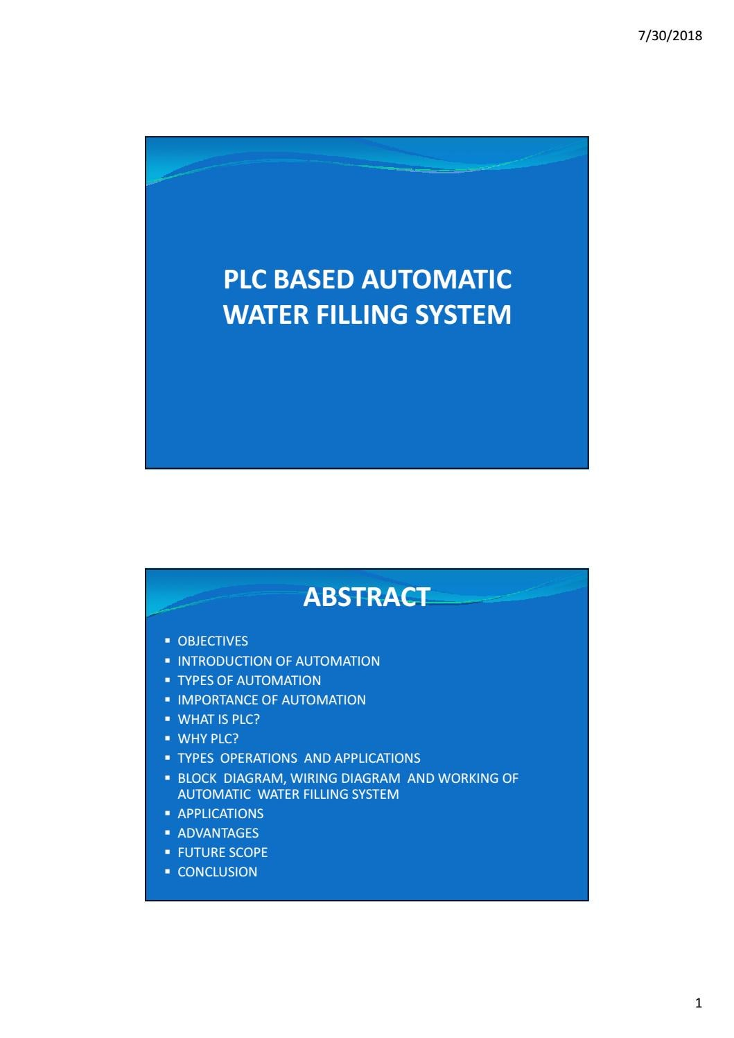 Plc Based Automatic Water Filling System By Zaw Myo Issuu Basic Diagram Of Wiring A
