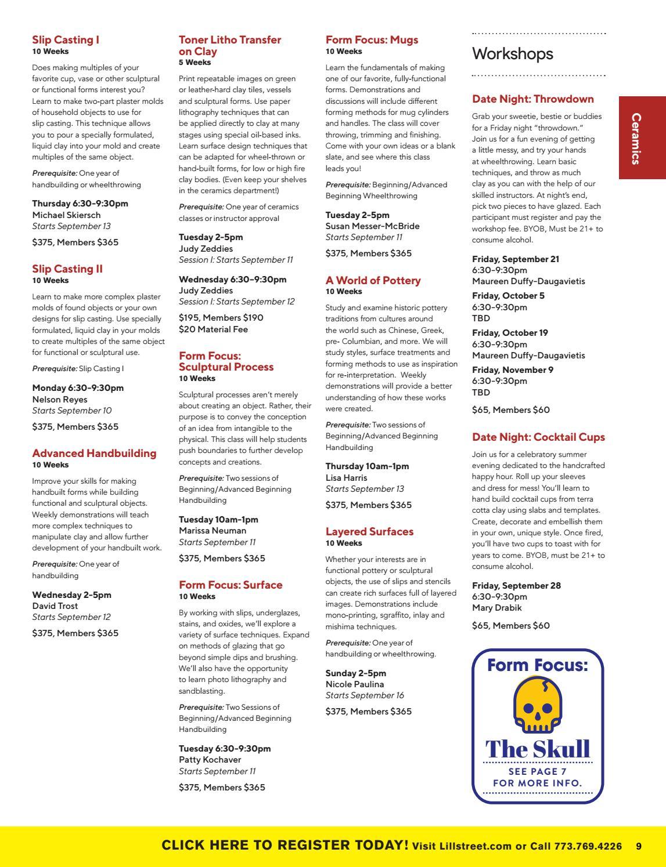 Lillstreet Fall Class Catalog 2018 by Lillstreet Art Center