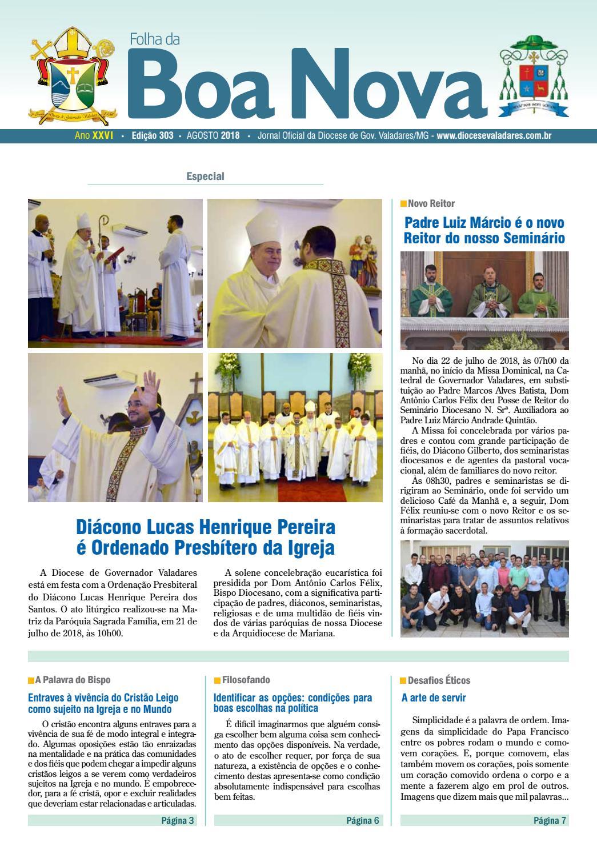 2f4920f92712 Folha da Boa Nova Edição Agosto 2018 by Dicoese de Governador Valadares -  issuu
