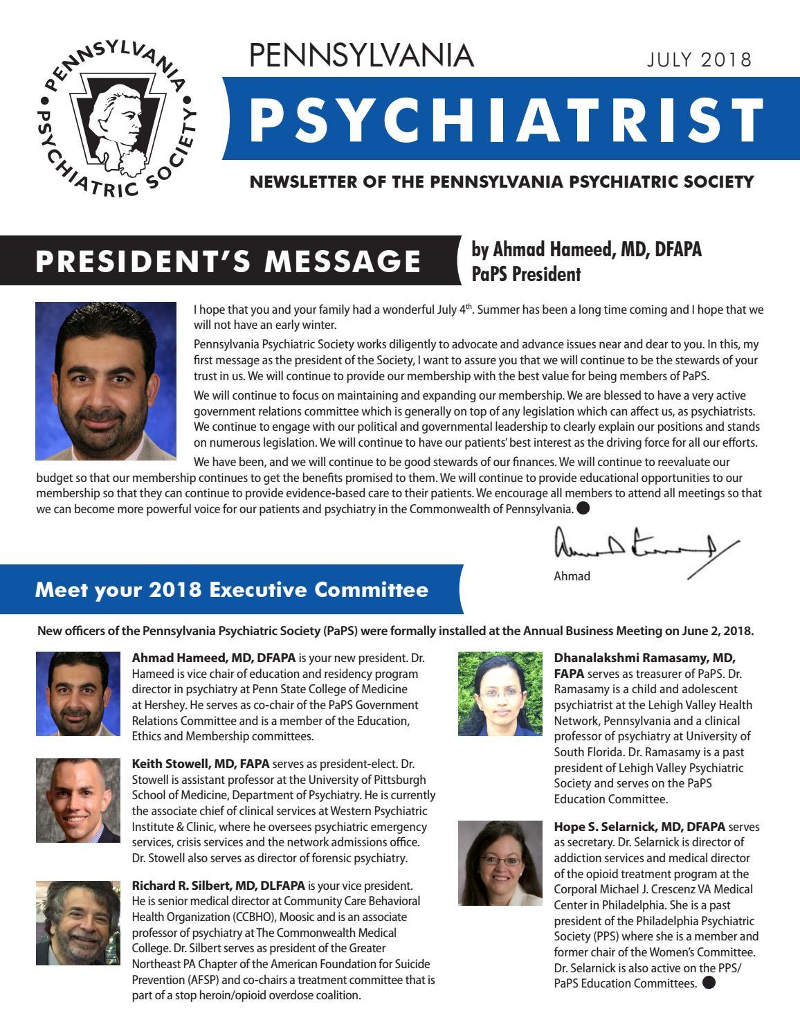 Pennsylvania Psychiatrist July 2018 by SSMS - issuu