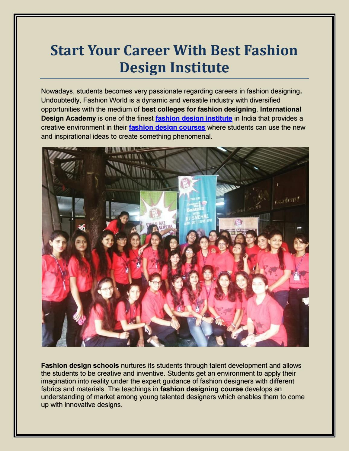 Start Your Career With Best Fashion Design Institute By Idajabalpur Issuu