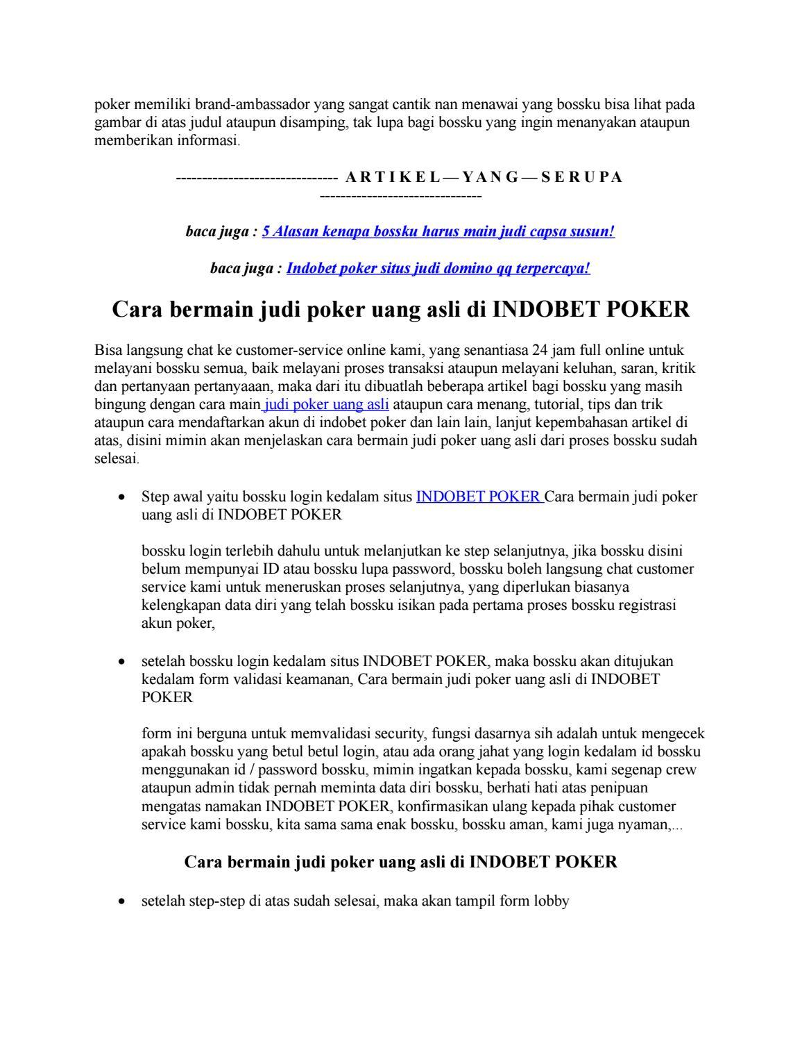 Cara Bermain Judi Poker Uang Asli Di Indobet Poker By Sedayubet Online Issuu