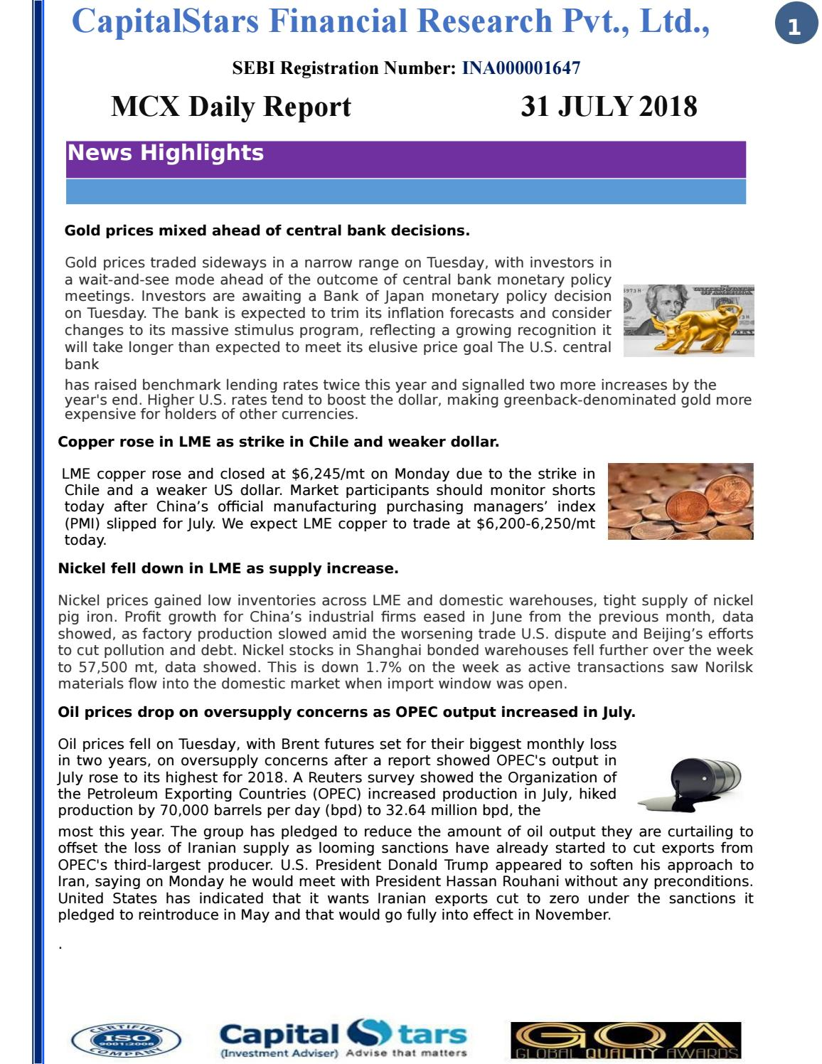 Daily Mcx Report by PurviMehta - issuu