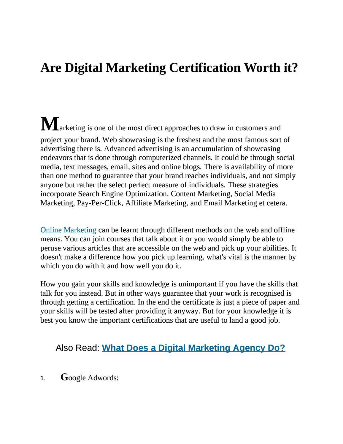 Are Digital Marketing Certification Worth It By Sunny Joshi Issuu