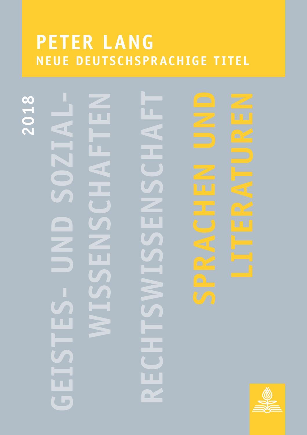 Sprachen Und Literaturen Neue Deutschsprachige Titel 2018