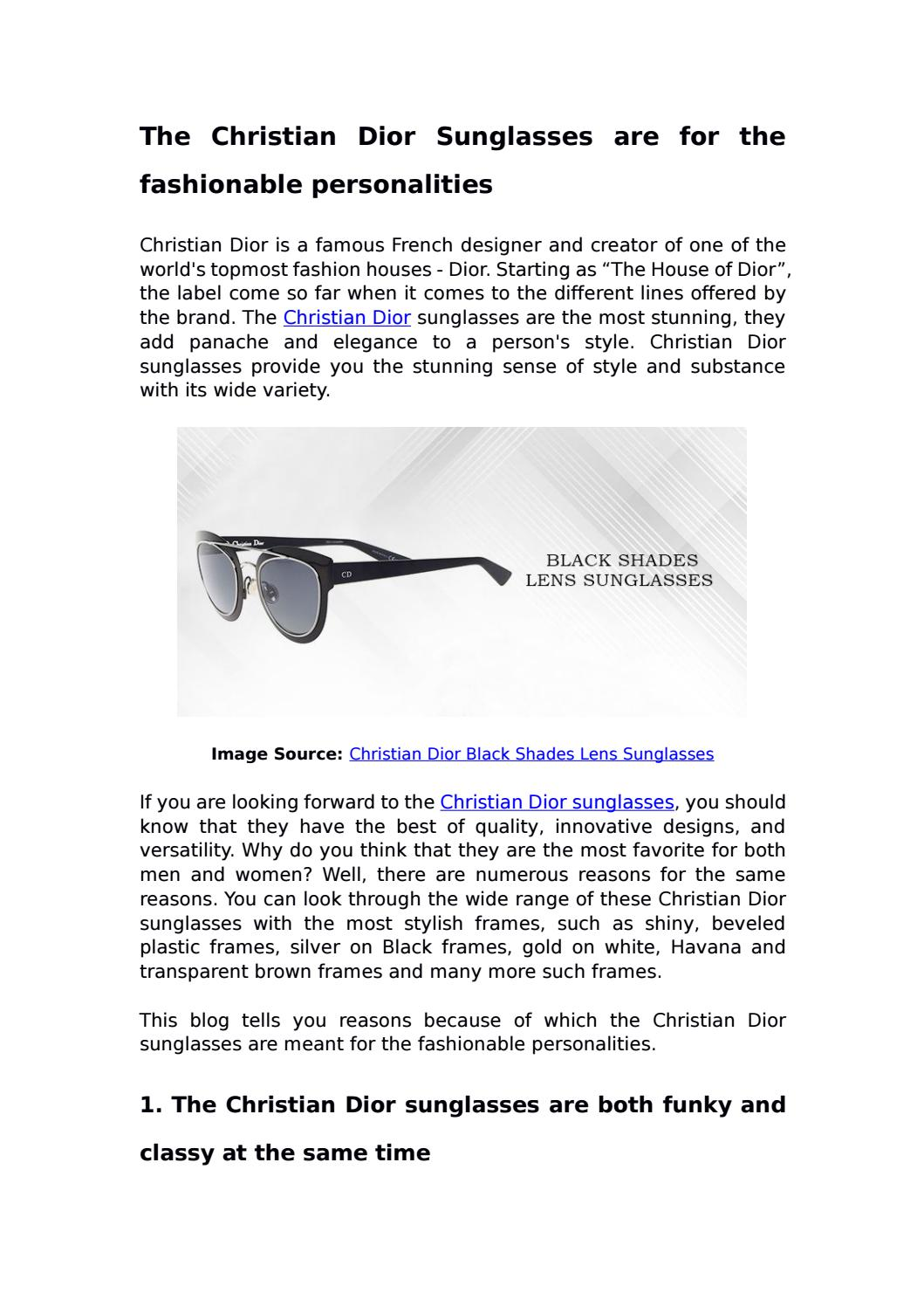 88a7ffab031 The Christian Dior Sunglasses are for the fashionable personalities by  Darveys - issuu