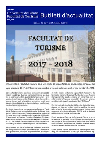 Butlleti D Actualitat Ft Num 15 By Comunicacio Facultat Turisme Issuu