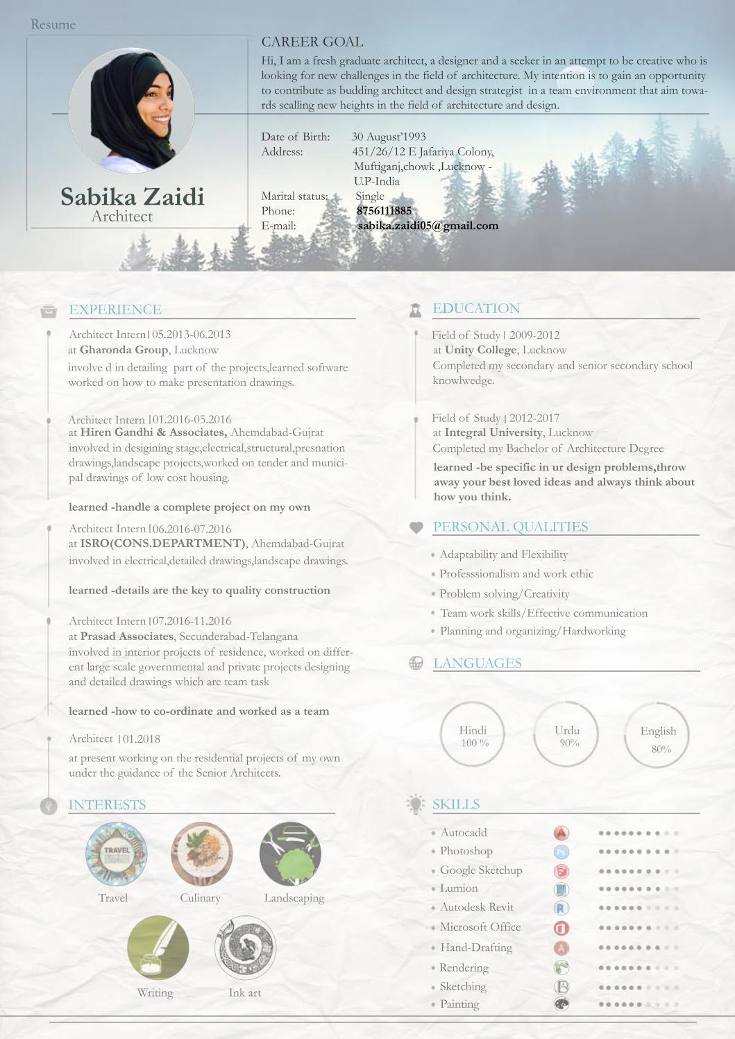 architectural Resume by Sabika zaidi - issuu