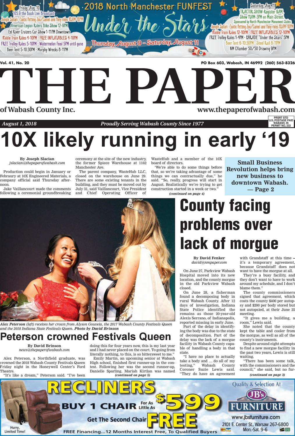 The Paper of Wabash County, Aug. 1, 2018 by The Paper of Wabash ...