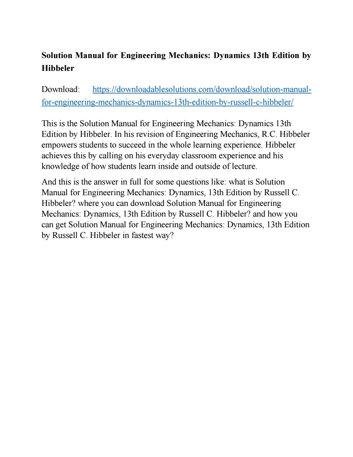 Solution Manual for Engineering Mechanics: Dynamics 13th Edition by Hibbeler  by java30 - issuu