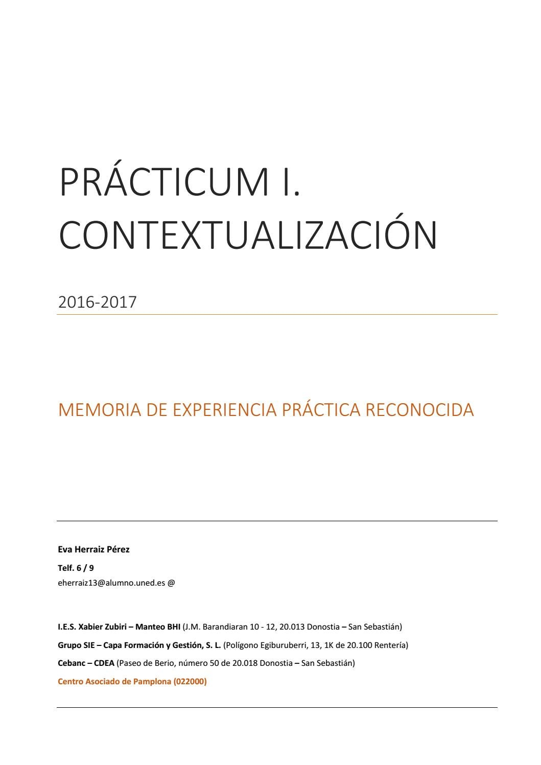 Informe De Eva Herraiz Practicum I Contextualización By