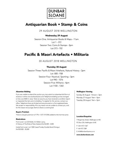 Antiquarian Book, Stamp & coins, Military & Artefacts by Dunbar