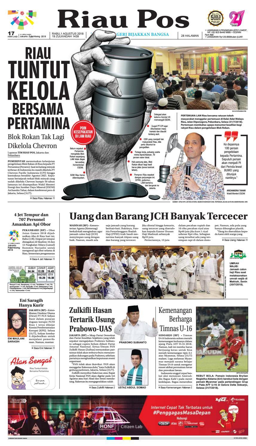 Riau Pos Edisi 1 Agustus 2018 By Riau Pos Issuu