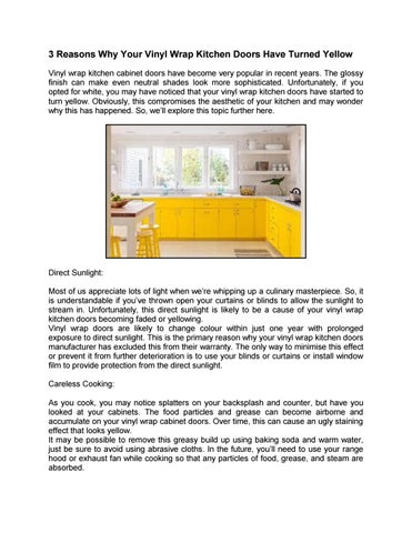 3 Reasons Why Your Vinyl Wrap Kitchen Doors Have Turned Yellow By Kitchendoorswebmaster Issuu