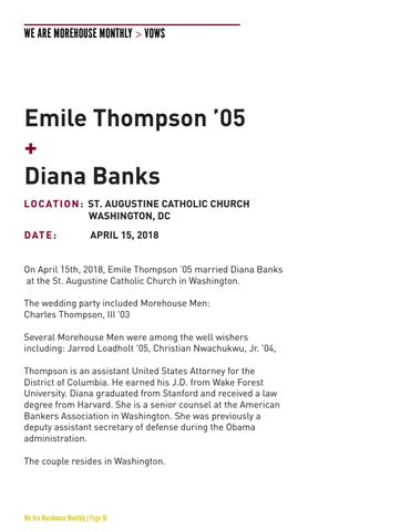 Page 18 of Vows: Emile Thompson '05 + Diana Banks