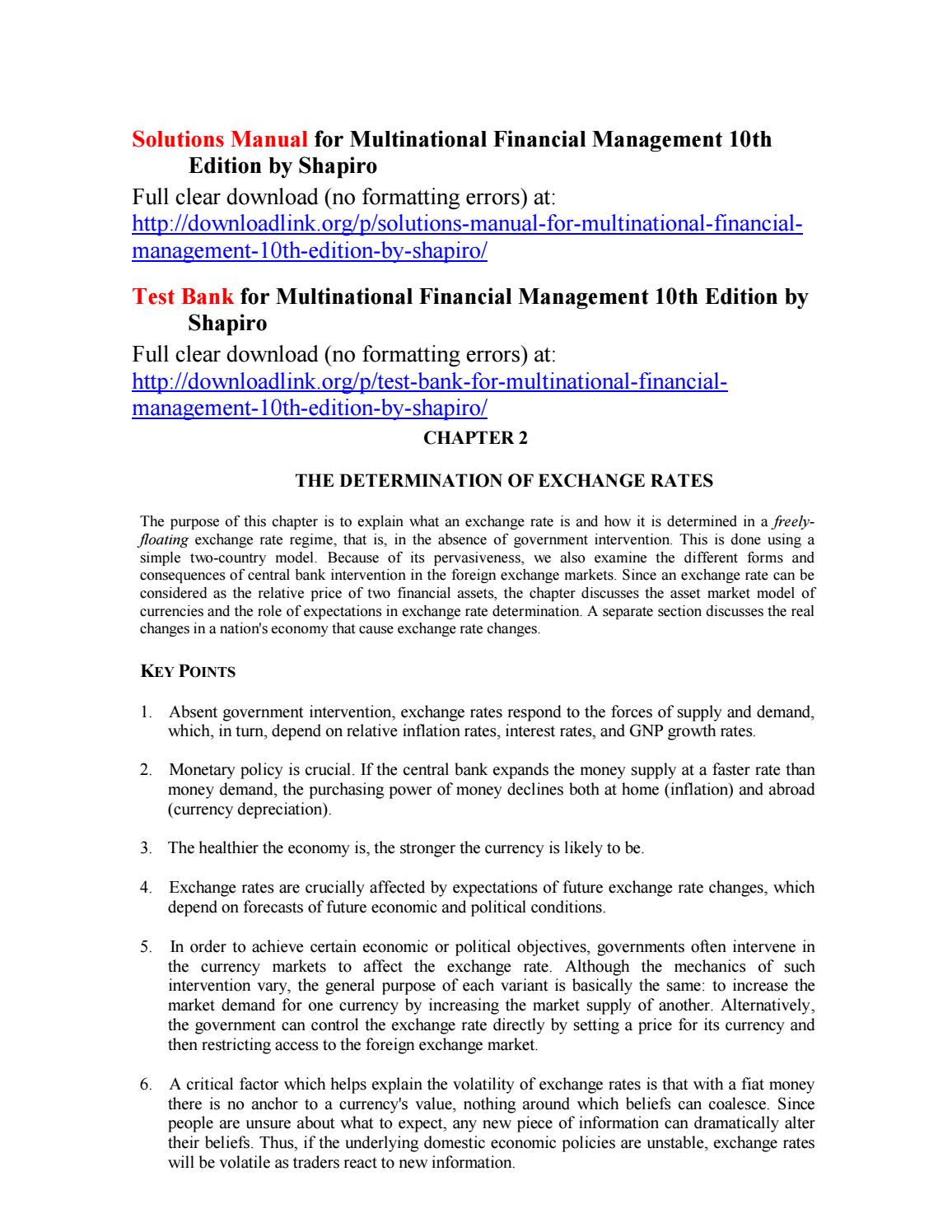Solutions Manual for Multinational Financial Management 10th Edition by  Shapiro by Anderson333r - issuu