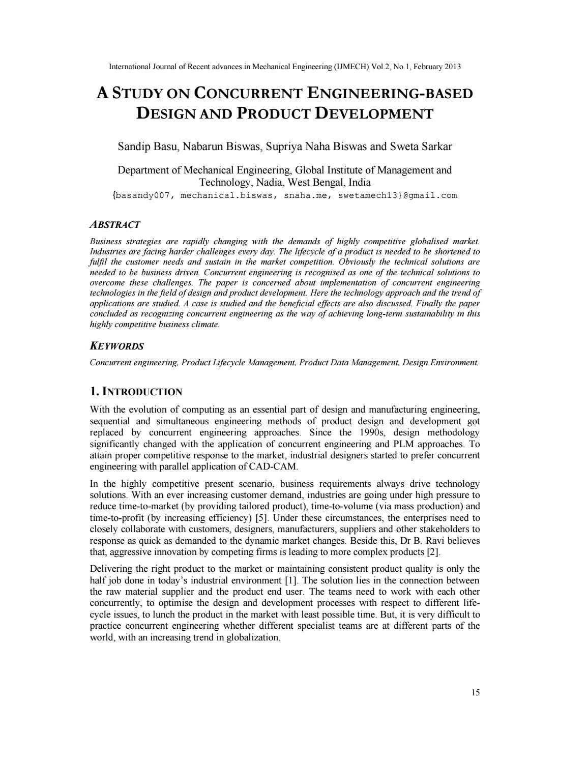 A Study On Concurrent Engineering Based Design And Product Development By Ijmech Issuu