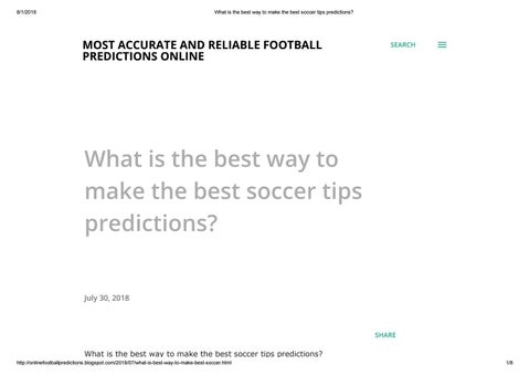 What is the best way to make the best soccer tips predictions? by