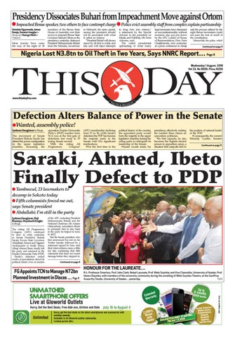 19494786f5dc THURSDAY 2ND AUGUST 2018 by THISDAY Newspapers Ltd - issuu