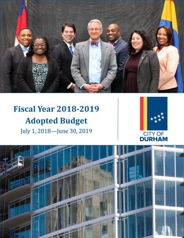 City Of Durham North Carolina Fy 2018 2019 Adopted Budget By City Of