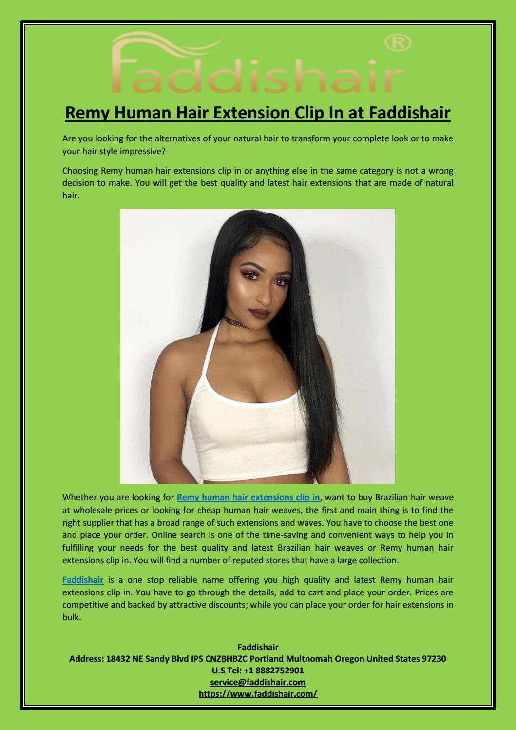 Remy Human Hair Extension Clip In At Faddishair By Faddis Hair Issuu