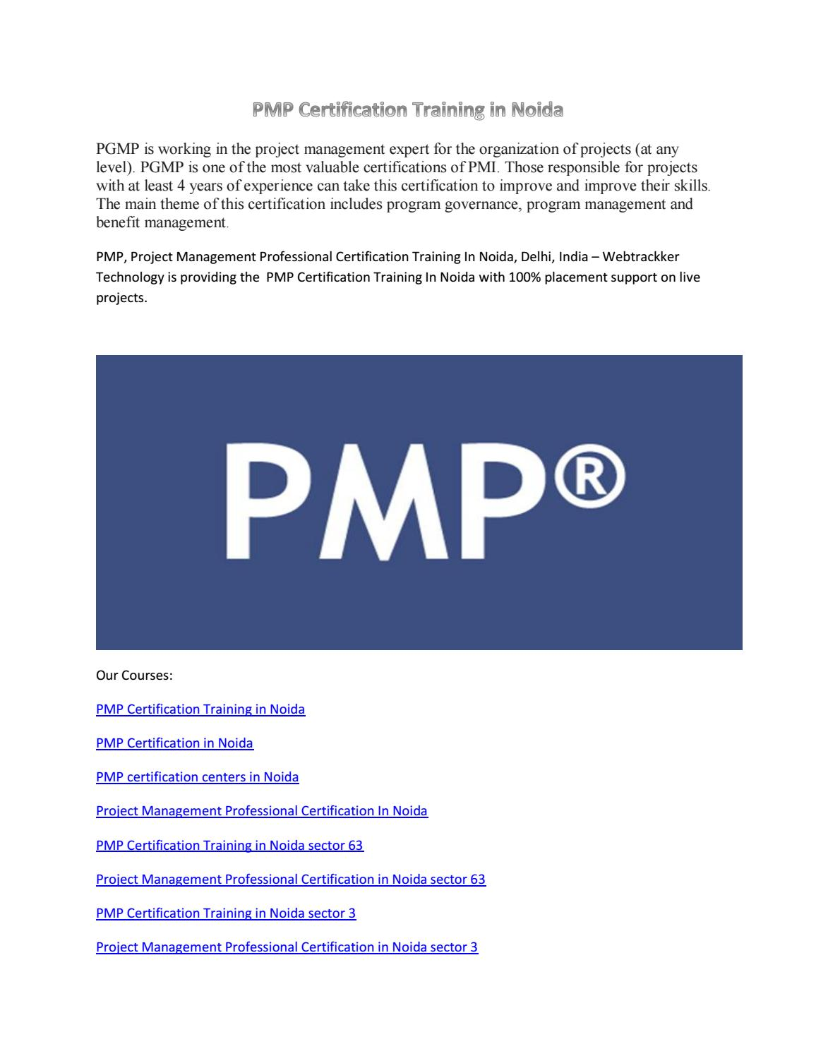 Pmp Certification Training In Noida By Webtrackkerashish Issuu