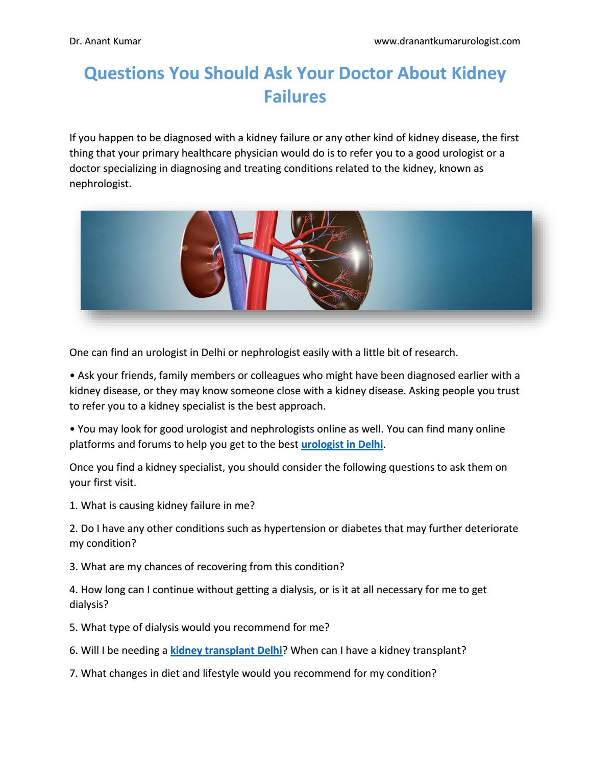 Questions You Should Ask Your Doctor About Kidney Failures