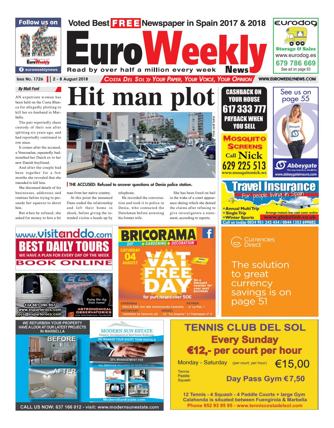 d88887101d5d29 Euro Weekly News - Costa del Sol 2 - 8 August 2018 Issue 1726 by Euro  Weekly News Media S.A. - issuu