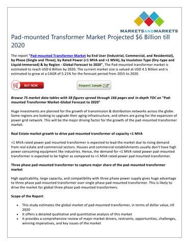 Pad-mounted Transformer Market Projected $6 Billion till