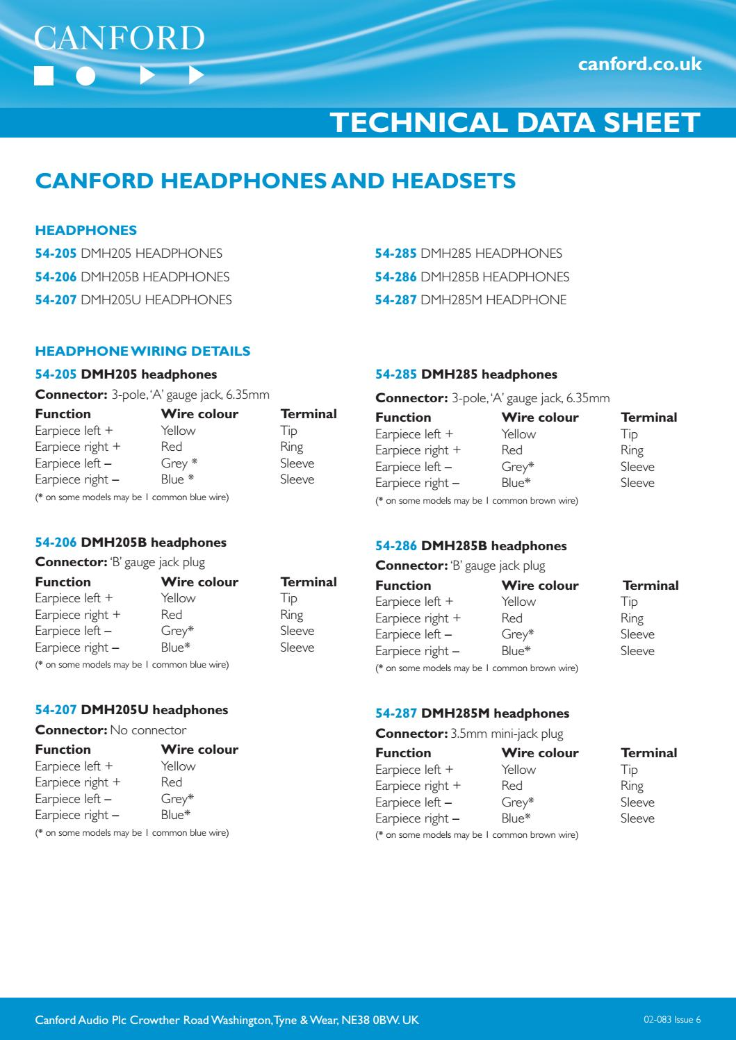 Canford Headphones And Headsets By Audio Issuu Uk Plug Wiring Colours
