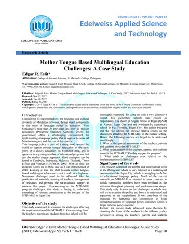 Mother Tongue Based Multilingual Education Challenges A Case Study