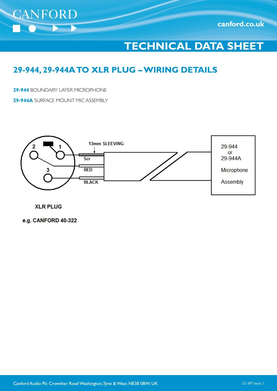 02-387 (29-944, 29-944A) TO XLR PLUG – WIRING DETAILS by Canford on