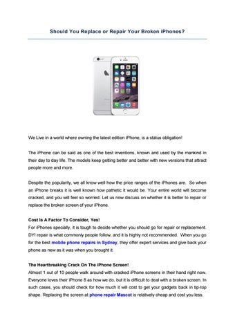 Should You Replace or Repair Your Broken iPhones? by Cheap Mobile