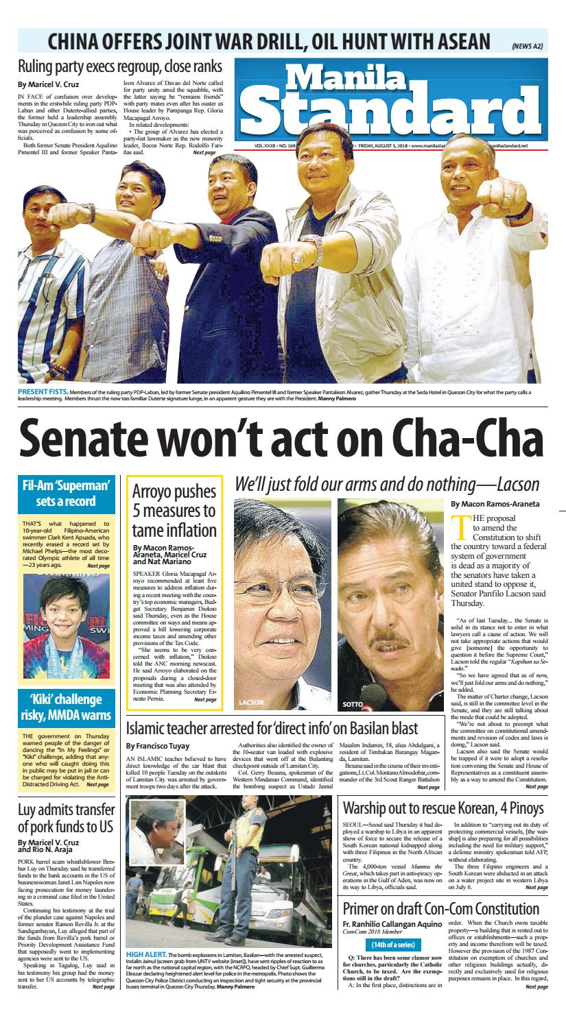 379ffc497896 Manila Standard - 2018 August 3 - Friday by Manila Standard - issuu