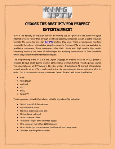 Choose the Best IPTV for Perfect Entertainment by KING IPTV