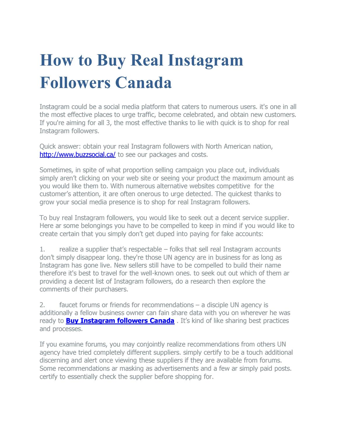 How to Buy Real Instagram Followers Canada by buy instagram