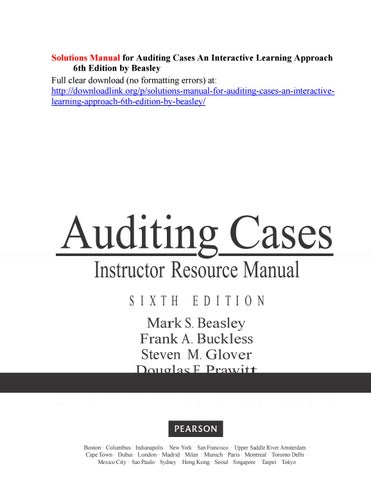 solutions manual for auditing cases an interactive learning approach rh issuu com apple blossom audit case solution manual Textbook Solution Manuals