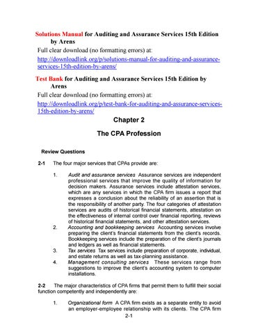 Solutions Manual For Auditing And Assurance Services 15th